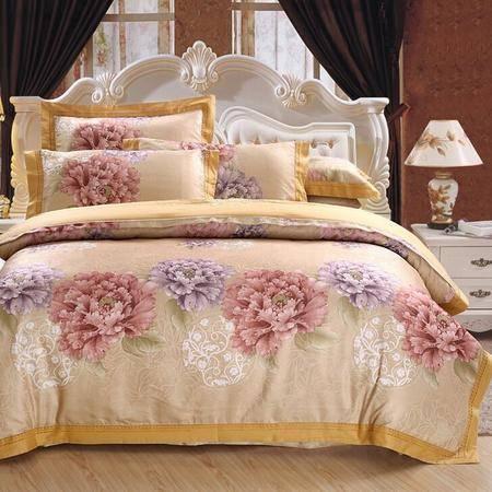 全棉贡缎提花四件套 婚庆床上用品彩棉镂空提花四件套