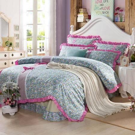 韩版纯棉床裙款四件套 全棉床单款套件 床上用品