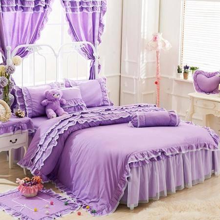 床上用品纯棉韩版可爱夹棉床罩款四件套全棉床裙款公主风套件