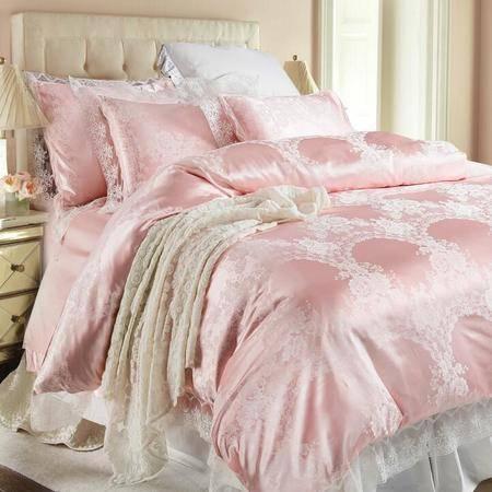 高端提花德芙丝四件套 法式蕾丝花边提花床品套件