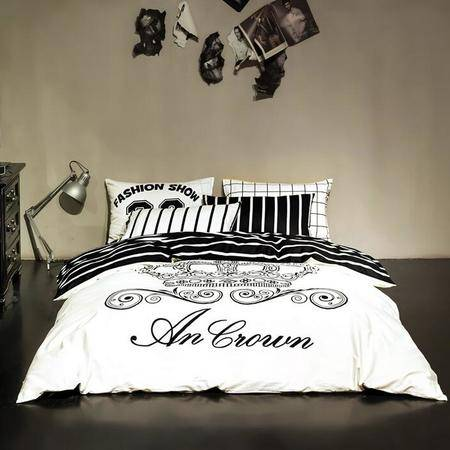 纯棉简约新款4件套全棉黑白条纹四件套男士单双人床单被套