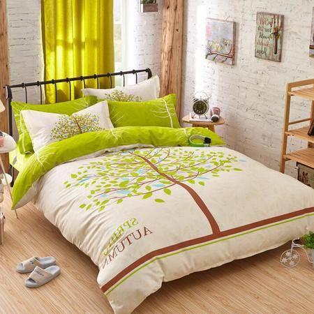 2016新款全棉活性印花四件套床上用品纯棉活性大版花