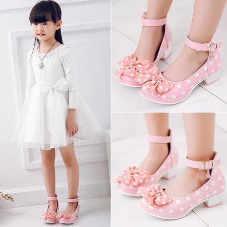 2016春秋款女童皮鞋高跟公主鞋韩版蝴蝶结单鞋