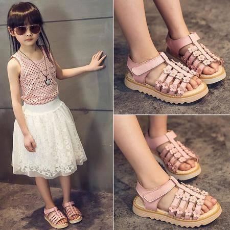 2016夏季新款女童凉鞋儿童可爱花朵公主鞋韩版休闲平跟小学生童鞋