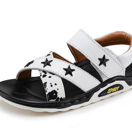 2016新款男童凉鞋真皮牛皮沙滩鞋夏季韩版中大童防滑露趾休闲凉鞋