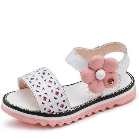 2016新款女童凉鞋真皮花朵韩版夏季甜美中大童公主鞋平跟软底童鞋