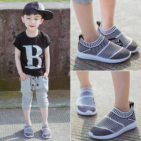 2016夏季新款男童运动鞋韩版休闲鞋中大童透气软底轻便网鞋一脚蹬
