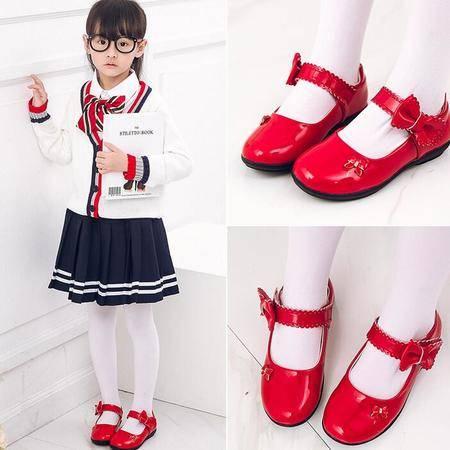 2016春秋新款女童皮鞋韩版中大童蝴蝶结公主鞋学生演出鞋童鞋