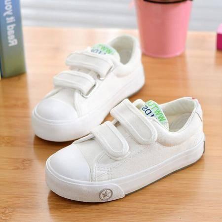 2016新款韩版儿童帆布鞋纯色小白鞋球鞋单鞋运动会鞋