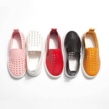 2016新款儿童鞋 单鞋镂空透气耐磨儿童皮鞋韩版童鞋一脚蹬童鞋