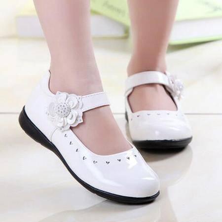 2016春季新款魔术贴儿童皮鞋韩版透气公主鞋小女孩学生平跟单鞋潮