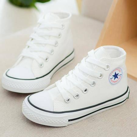 正品2016秋夏新款高帮儿童帆布鞋男童鞋韩版女童单鞋白色布鞋板鞋