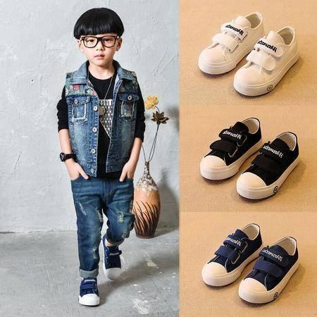 儿童鞋宝宝帆布鞋低帮童鞋男童板鞋女童布鞋韩版纯色小白鞋运动会