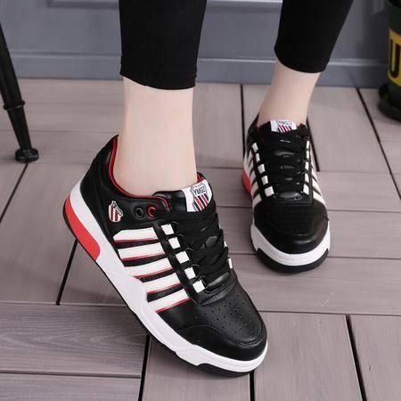 女鞋新款平底系带增高休闲运动鞋学生鞋女单鞋