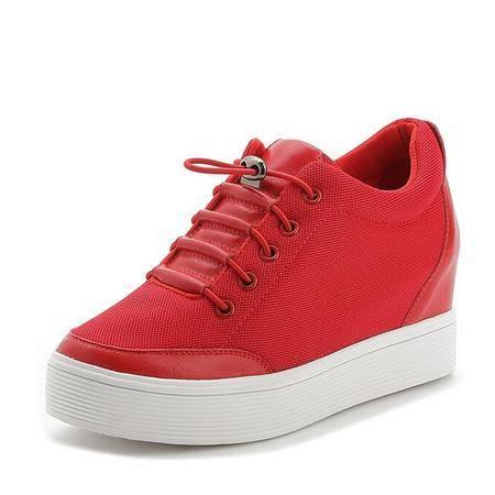 真皮女鞋新款平底增高跟休闲运动单鞋女学生鞋