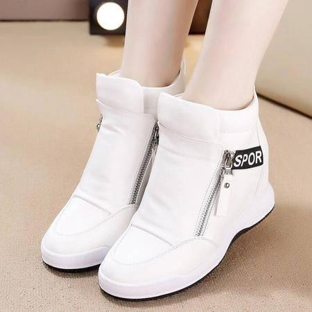 女鞋新款平底增高休闲运动鞋高帮单鞋女学生鞋