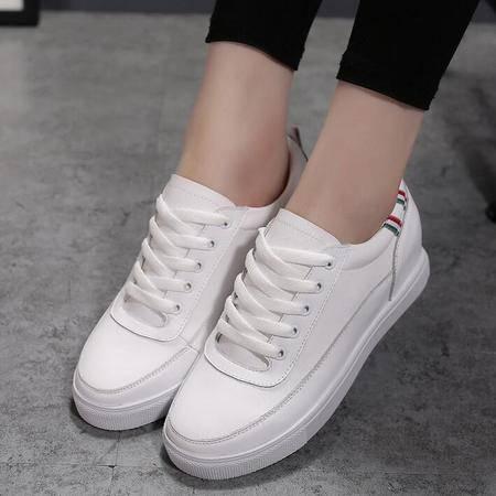 头层牛皮女鞋新款平底增高休闲运动学生单鞋女