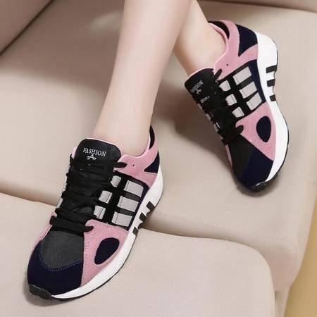 真皮女鞋新款系带增高松糕跟休闲运动鞋学生女单鞋