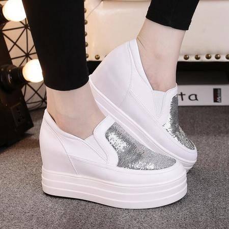 2016女鞋新款松糕跟单鞋女休闲运动鞋亮片学生鞋