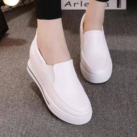 女鞋新款松糕跟单鞋女休闲运动鞋小白鞋