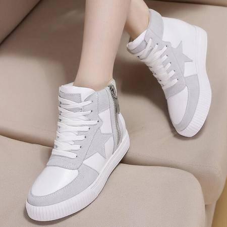 真皮女鞋新款平底系带高帮休闲运动鞋学生鞋单鞋女