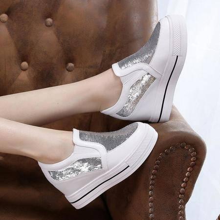 女鞋新款亮片平底休闲懒人鞋单鞋女学生鞋