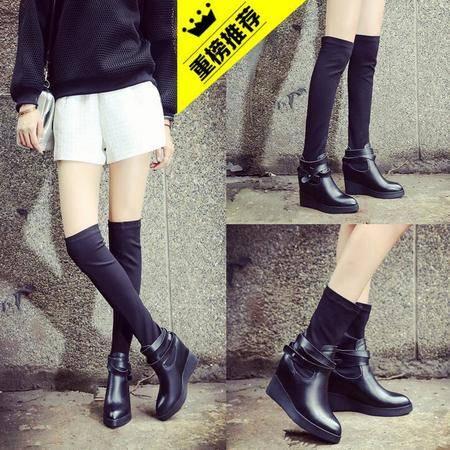 2016成都新款女鞋韩版休闲内增高弹力靴马丁靴厚底尖头坡跟女靴子