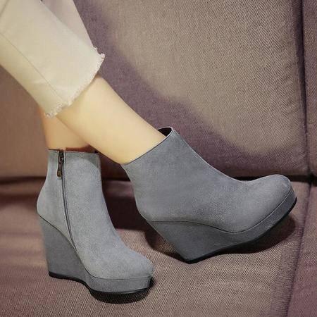 2016秋冬季新款真皮坡跟高跟女短靴防水台磨砂牛皮女鞋
