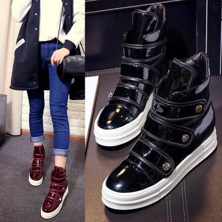 新款欧美真皮柳丁短靴内增高坡跟马丁靴时尚厚底女靴子