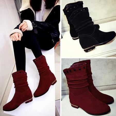 2016秋冬季欧美新款女鞋水钻铆钉磨砂皮内增高平底中筒靴女靴子