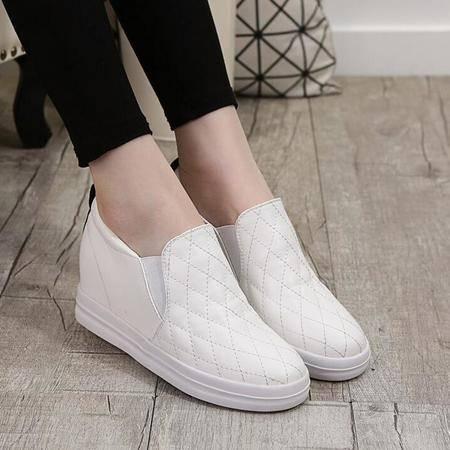 内增高女鞋新款2016松糕跟乐福鞋平底懒人鞋女单鞋