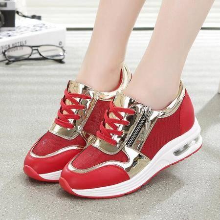 低帮女鞋新款2016系带休闲运动鞋增高跟单鞋女