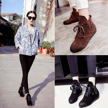 2016秋季新款欧美复古擦色内增高马丁靴短筒女靴平底柳钉单靴子