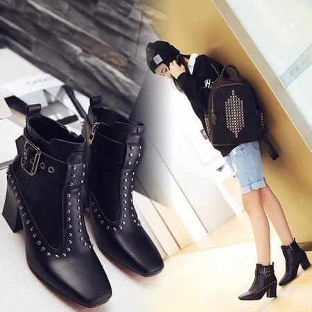 新款真皮方头铆钉深口粗跟中跟女靴欧美时尚牛皮马丁靴女鞋