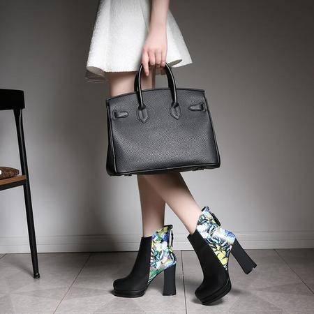 短筒靴2016新款马丁靴后拉链拼色防水台女靴子时尚韩版真皮女鞋