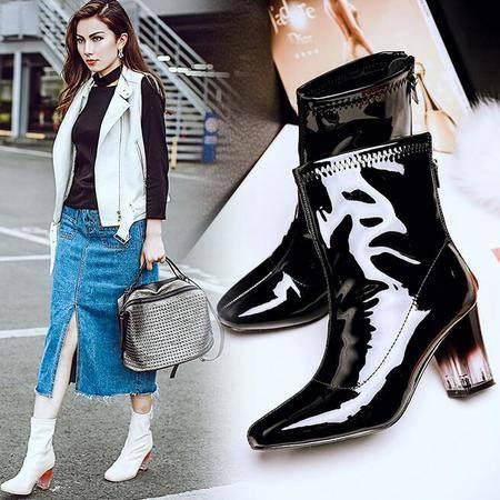 欧美秋季新款头层牛皮方头马丁靴女欧美粗跟中筒后拉链女靴