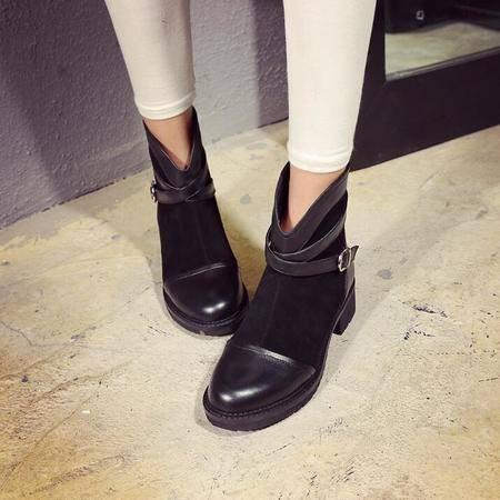 秋冬季新款女鞋潮流鞋防水台后拉链粗跟短靴子时候英伦骑士靴