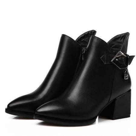 秋冬新款真皮短靴女鞋牛皮粗跟高跟鞋马丁靴时尚水钻短靴子