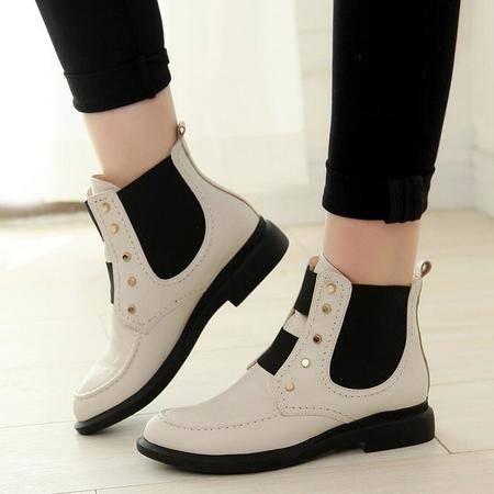 欧美专柜正品女鞋尖头铆钉松紧带低跟短靴子拼色真皮短筒切尔西靴
