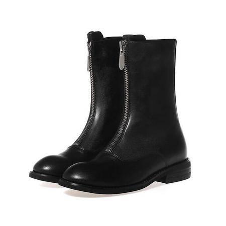 2016秋季女鞋中筒女靴子方跟小圆拉链头英伦单靴马丁靴