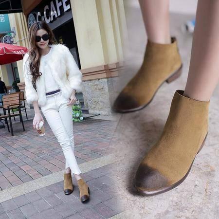 韩版真皮复古尖头短靴尖头平底擦色及裸靴真皮低跟女鞋子