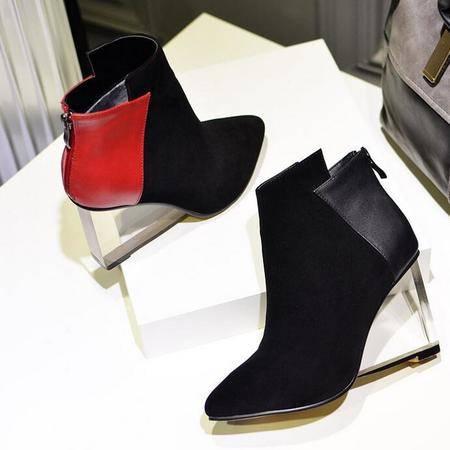 短靴英伦时尚拼色异形跟及裸靴真皮高跟鞋深口尖头鞋