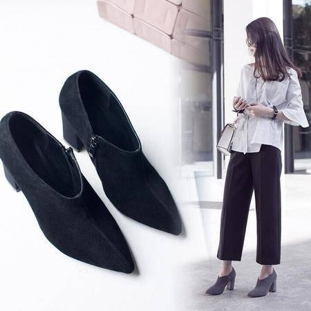 女鞋欧美时尚百搭女靴尖头车缝线粗跟及裸靴磨砂皮高跟短靴子