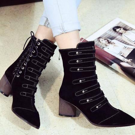 2016秋冬季新款女鞋欧美范街头铆钉尖头马丁靴全牛皮粗跟女靴子