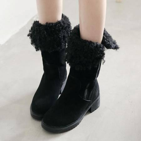 2016秋冬新款真皮女式休闲磨砂皮中筒靴时尚低跟雪地靴