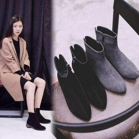 2016新款真皮短靴秋季磨砂皮粗跟女靴子车缝线尖头马丁靴女鞋