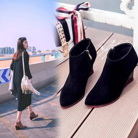 2016秋冬季新品欧美真皮女靴磨砂皮坡跟短筒靴头层牛皮尖头及裸靴