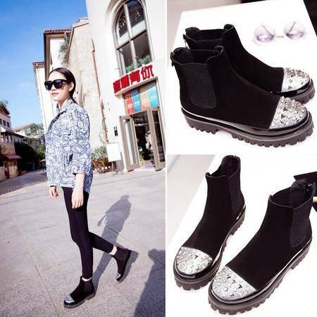 欧美大牌柳钉时尚爆款女鞋内外真皮短靴子铆钉水钻厚底马丁靴