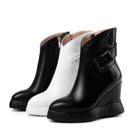 女鞋厚底皮带扣印花坡跟女靴子里外全皮高跟鞋罗马靴