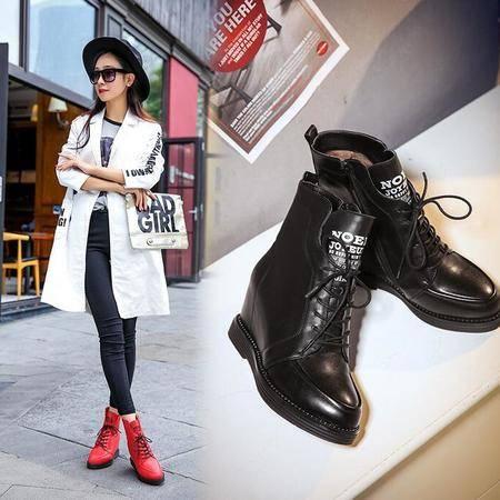 2016女鞋韩版真皮马丁靴内增高防水台系带短靴女